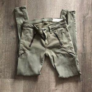 Rag & Bone Army Cargo Green Zipper Jeans